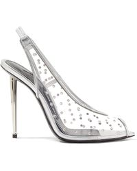 Tom Ford - Embellished Metallic Leather And Pvc Slingback Court Shoes - Lyst