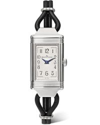 Jaeger-lecoultre - Reverso One Cordonnet 16.3mm Stainless Steel, Leather And Diamond Watch - Lyst