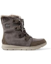 Sorel - Explorer Joan Faux Fur-trimmed Waterproof Suede And Leather Ankle Boots - Lyst