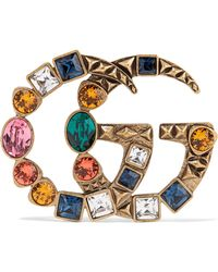 Gucci - Gold-tone Crystal Brooch - Lyst