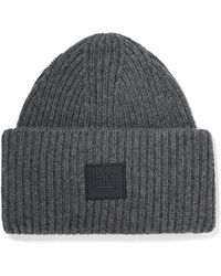 Acne Studios Pansy Face Appliquéd Ribbed Wool Beanie - Gray