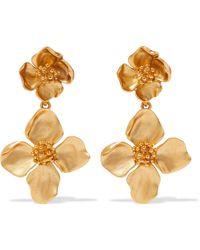 Oscar de la Renta - Gold-tone Clip Earrings - Lyst