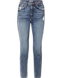 GRLFRND - Karolina Distressed High-rise Skinny Jeans - Lyst