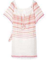 lemlem - Tiki Fringed Embroidered Cotton-blend Gauze Dress - Lyst