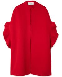 Valentino - Ruffled Brushed Wool And Cashmere-blend Cape - Lyst
