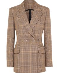 Petar Petrov - Double-breasted Checked Wool Blazer - Lyst