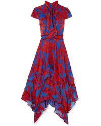Alice + Olivia - Ilia Ruffled Floral-print Crepe De Chine Midi Dress - Lyst