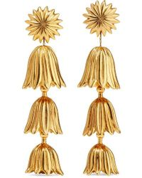 Oscar de la Renta - Tiered Flower Gold-tone Clip Earrings - Lyst