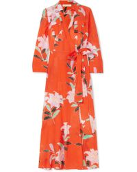 Diane von Furstenberg - Floral-print Cotton And Silk-blend Gauze Wrap Dress - Lyst