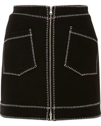 McQ - Embroidered Stretch-jersey Mini Skirt - Lyst