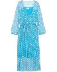 Cloe Cassandro - Jemima Printed Silk-crepon Wrap Midi Dress - Lyst