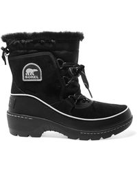 Sorel - Torino Waterproof Suede, Shell And Leather Ankle Boots - Lyst