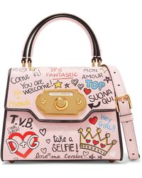 Dolce & Gabbana - Sac à Main En Cuir Lisse Et Effet Lézard à Appliqué Welcome Medium - Blanc 0U0fXe1a5