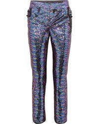 Balmain - Sequined Frayed Crepe Straight-leg Pants - Lyst
