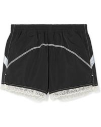 Sandy Liang - Lace-trimmed Shell Shorts - Lyst