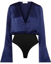 Caroline Constas - Daria Silk-satin Bodysuit - Lyst