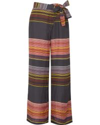 Apiece Apart - Raka Striped Silk-habotai Wide-leg Trousers - Lyst