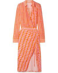 Altuzarra - Constantina Wrap-effect Checked Silk Crepe De Chine Midi Dress - Lyst