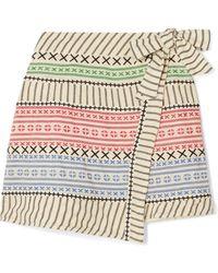 Dodo Bar Or - Striped Cotton-gauze Wrap Mini Skirt - Lyst