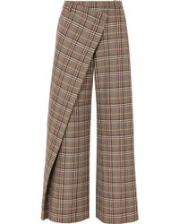 Monse - Wrap-effect Checked Wool-blend Canvas Wide-leg Trousers - Lyst