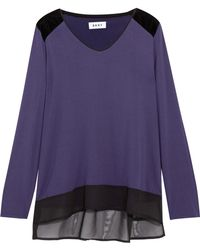 DKNY - Velvet And Chiffon-trimmed Stretch-modal Jersey Pajama Top - Lyst
