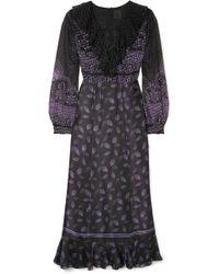 Anna Sui - Fountains Of Fancy Fil Coupé Silk-blend Chiffon And Silk-satin Maxi Dress - Lyst