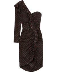 Veronica Beard - Leona One-shoulder Ruffled Ruched Polka-dot Silk Dress - Lyst