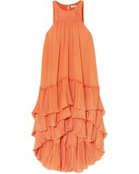 Halston - Tiered Plissé-georgette Dress - Lyst
