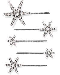Jennifer Behr - Vespera Set Of Five Gunmetal-tone Crystal Hair Slides - Lyst