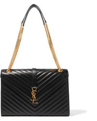 Saint Laurent - Cassandre Large Quilted Textured-leather Shoulder Bag - Lyst