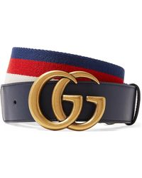 13ba848e4 Gucci - Striped Canvas And Leather Belt - Lyst
