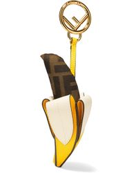 Fendi - Leather And Logo-jacquard Keychain - Lyst