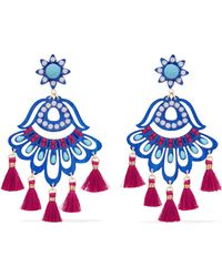 Mercedes Salazar - Fiesta Tasseled Gold-plated, Resin, Bead And Pearl Clip Earrings - Lyst
