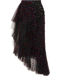 Rodarte - Asymmetric Ruffled Appliquéd Tulle Midi Skirt - Lyst