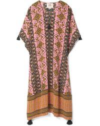Figue - Eliza Tasseled Printed Silk Crepe De Chine Kaftan - Lyst
