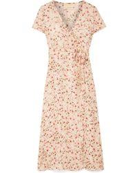 Paloma Blue - Siena Wrap-effect Floral-print Silk-chiffon Dress - Lyst