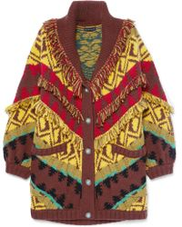 Etro - Oversized Fringed Wool-blend Cardigan - Lyst