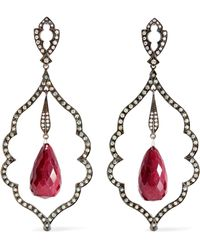 Loree Rodkin - 18-karat Rhodium White Gold Multi-stone Earrings - Lyst