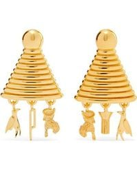 Lucy Folk - Sottsass Sphinx Gold-plated Earrings - Lyst