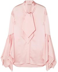 Christopher Kane - Pussy-bow Satin Blouse - Lyst