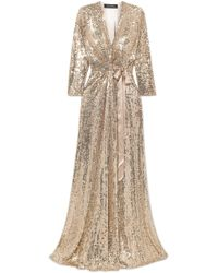 Jenny Packham - Satin-trimmed Sequined Silk-chiffon Wrap Gown - Lyst