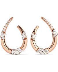 YEPREM - 18-karat Rose And White Gold Diamond Earrings - Lyst