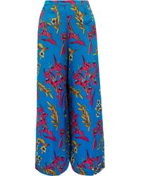 Etro - Silk Floral Print Wide Leg Trousers - Lyst