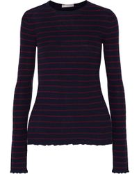 Vince - Striped Ribbed Cashmere Sweater - Lyst