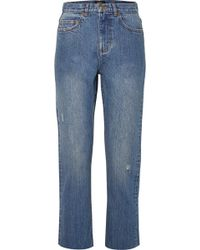 A.P.C. - Standard Distressed High-rise Straight-leg Jeans - Lyst