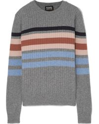 Markus Lupfer - Mia Striped Ribbed Merino Wool Jumper - Lyst