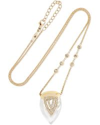 Jacquie Aiche - 14-karat Gold, Quartz Crystal And Diamond Necklace - Lyst