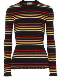 Sonia Rykiel - Frayed Striped Ribbed Wool Jumper - Lyst