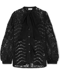Temperley London - Panther Pussy-bow Sequined Lace Blouse - Lyst