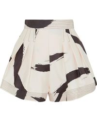 Zimmermann - Pleated Printed Silk-voile Shorts - Lyst
